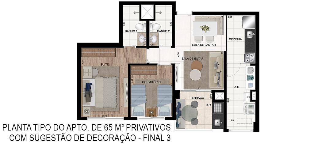 Planta Tipo de 65m² - In Design Liberdade