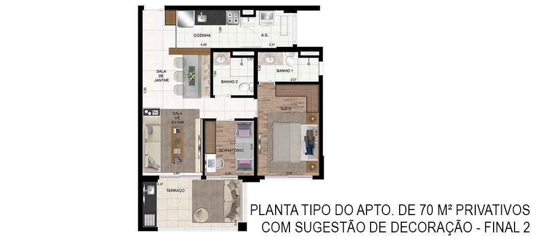 Planta Tipo de 70m²- In Design Liberdade