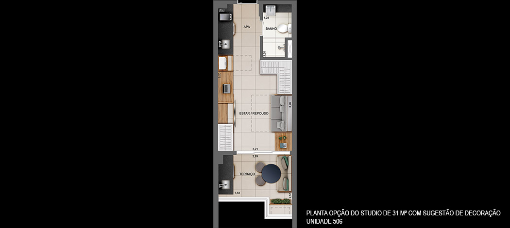 Planta Opção do Studio de 31m² - Z Cotovia