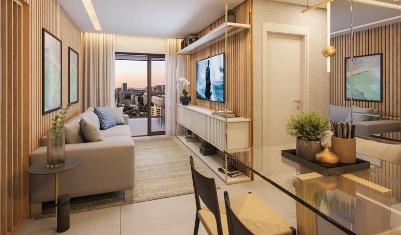 air brooklin – living do apto. de 2 dorms. tipo 66 m² com sugestão de decoração - final 5