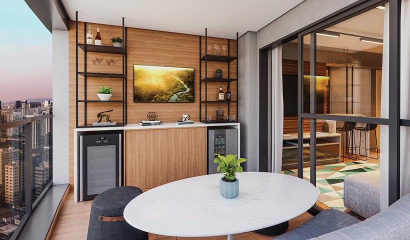 air brooklin – terraço do apto. de 1 suíte tipo 50 m² com sugestão de decoração - final 12