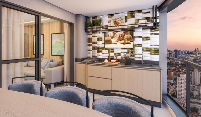air brooklin – terraço do apto. de 2 dorms. tipo 66 m² com sugestão de decoração - final 5