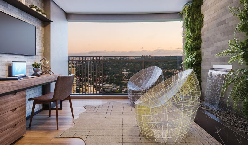 air brooklin – terraço do studio de 32 m² com sugestão de decoração - final 16