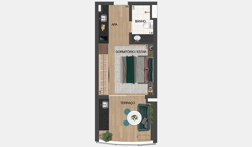 air brooklin – planta tipo do studio de 32 m² privativos com sugestão de decoração - final 16