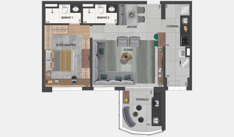 air brooklin – planta do apto. de 1 suíte opção 66 m² privativos com living ampliado e sugestão de decoração - final 5