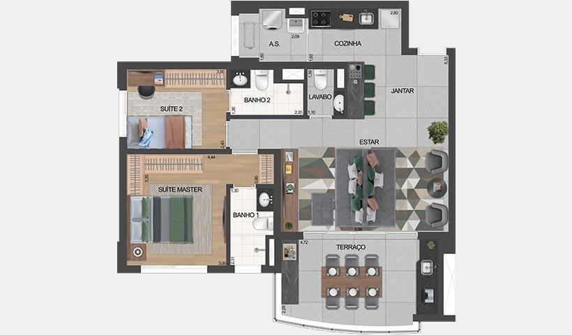 air brooklin – planta do apto. de 2 suítes opção 81 m² privativos com living ampliado e sugestão de decoração - final 2
