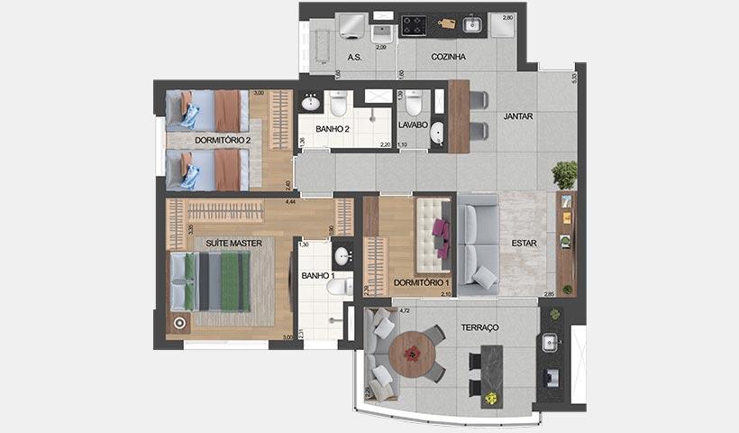 air brooklin – planta do apto. de 1 suíte e 2 dorms. tipo 81 m² privativos com sugestão de decoração - final 2