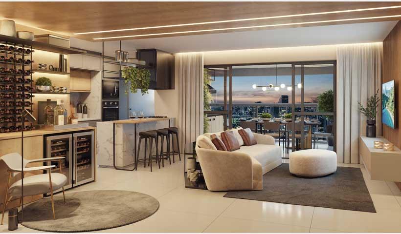 Arkadio - Living do Apto. de 107 m²