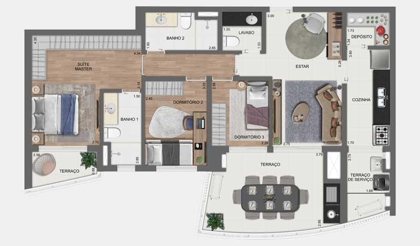 Arkadio - Planta Tipo 107 m²