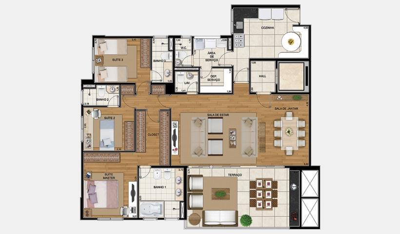 Art'e – Planta 163 m² 3 suítes