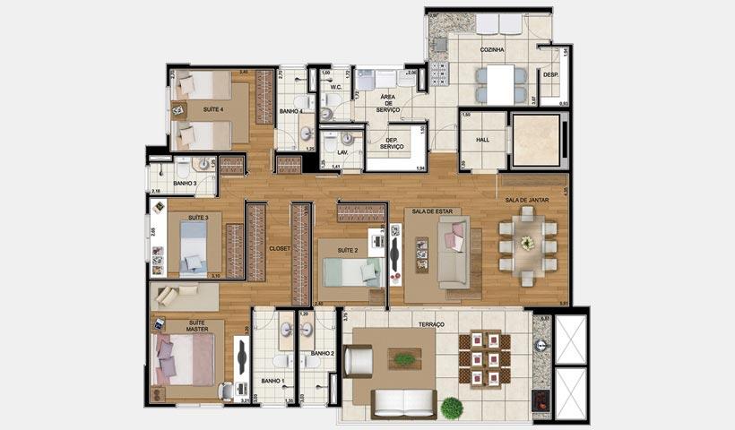 Art'e – Planta 163 m² 4 suítes
