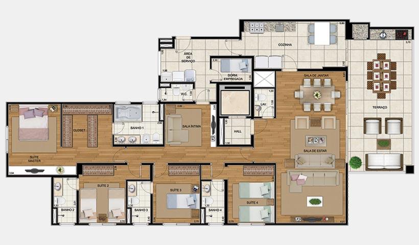 Art'e – Planta 216 m² 4 suítes
