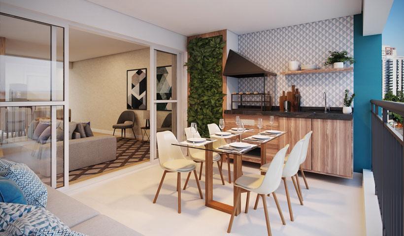 Artis Jardim Prudência – Terraço do apto. de 80 m²