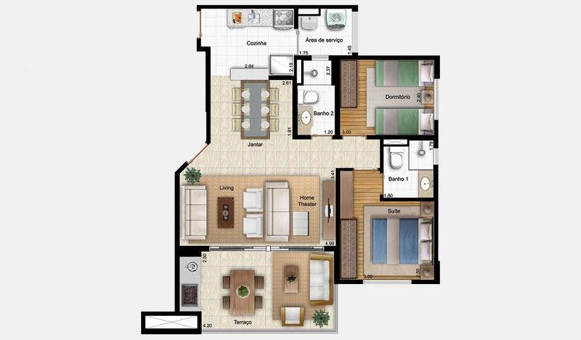 Bell'Acqua – Planta 75 m² 2 Dorms.