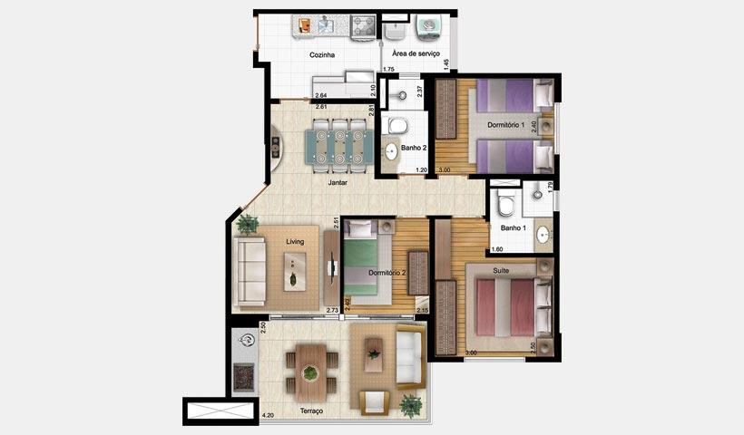 Bell'Acqua – Planta 75 m² 3 Dorms.