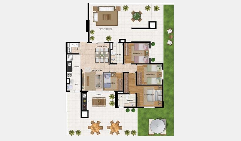 Bosque Ventura – Planta garden de 213 m²