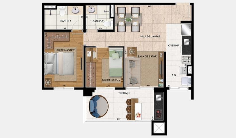Bosque Ventura – Planta 65 m² 2 Dorms.