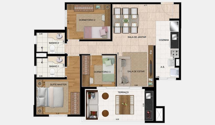 Bosque Ventura – Planta 80 m² 3 Dorms.