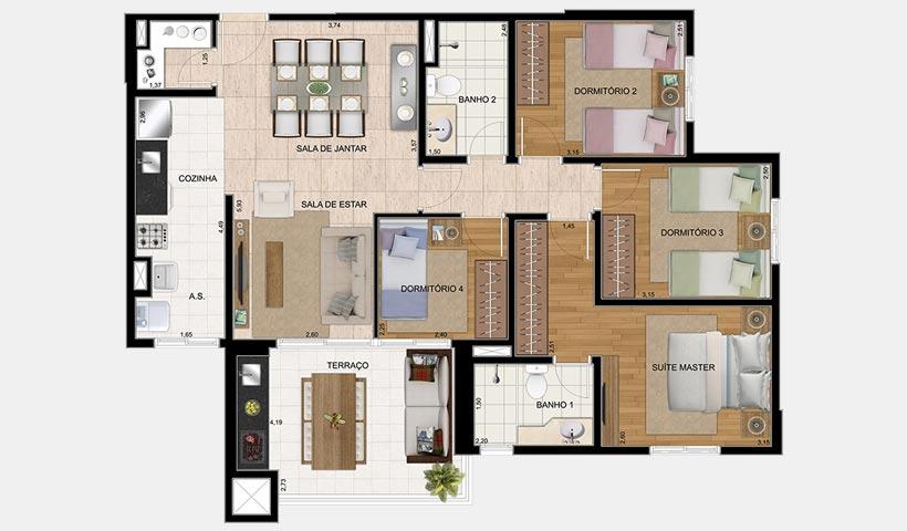 Bosque Ventura – Planta 95 m² com 4 dorms.