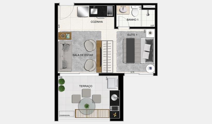 Brasiliano - Planta 36 m² 1 Dorm. Final 3