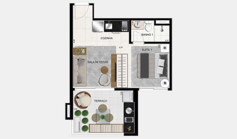 Brasiliano - Planta 36 m² 1 Dorm. Final 8