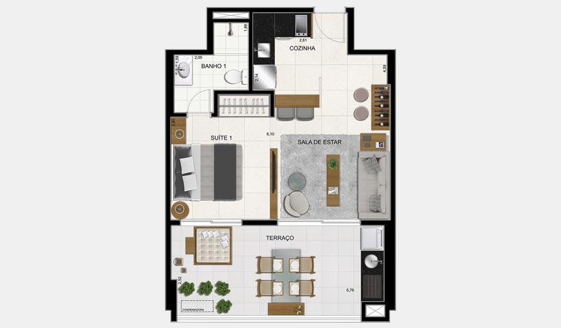 Brasiliano – Planta 51 m² 1 Dorm. Final 5