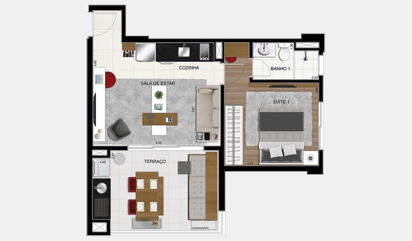 Brasiliano – Planta 51 m² 1 Dorm. Final 6