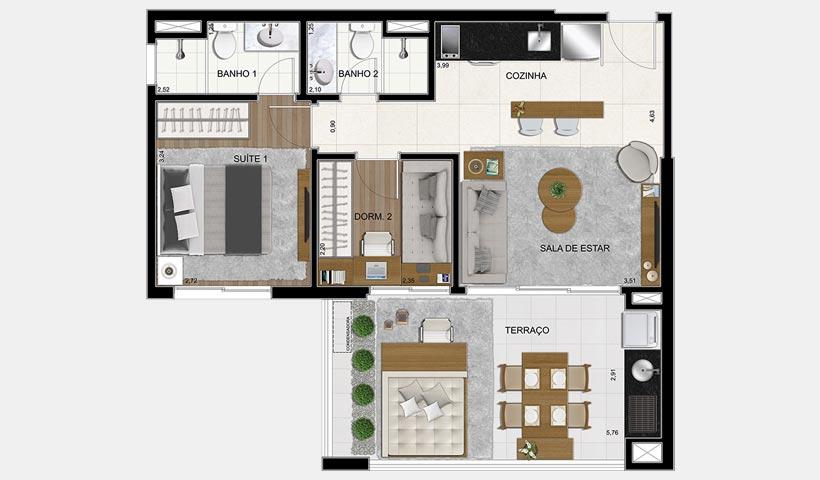 Brasiliano - Planta 63 m² 2 Dorms. Final 1