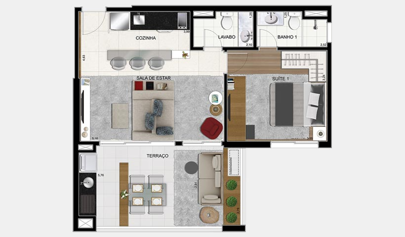 Brasiliano - Planta 63 m² 2 Dorms. Final 9