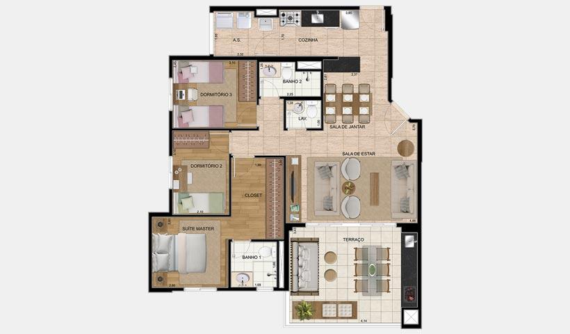 Chácara Cantareira – Planta 100 m² 3 Dorms.