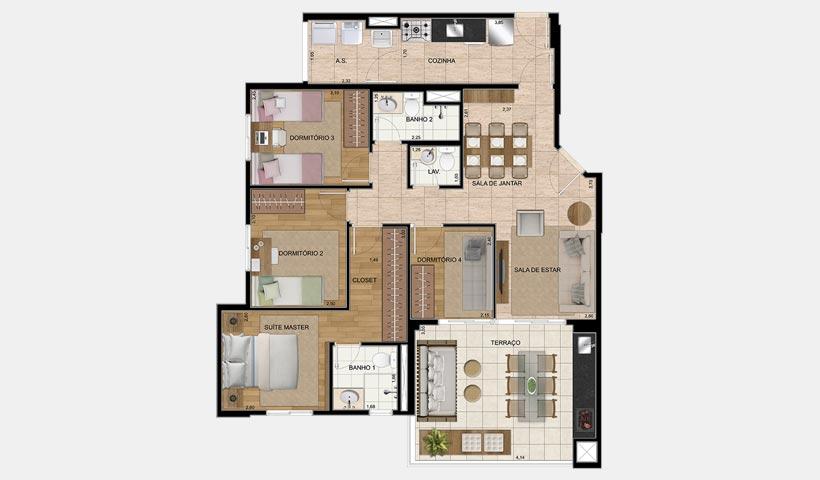 Chácara Cantareira – Planta 100 m² 4 Dorms.