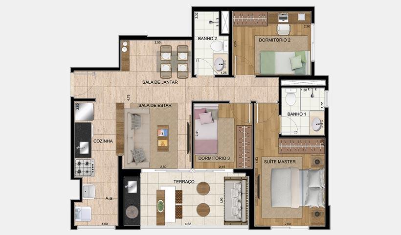 Chácara Cantareira – Planta 70 m² 3 Dorms.
