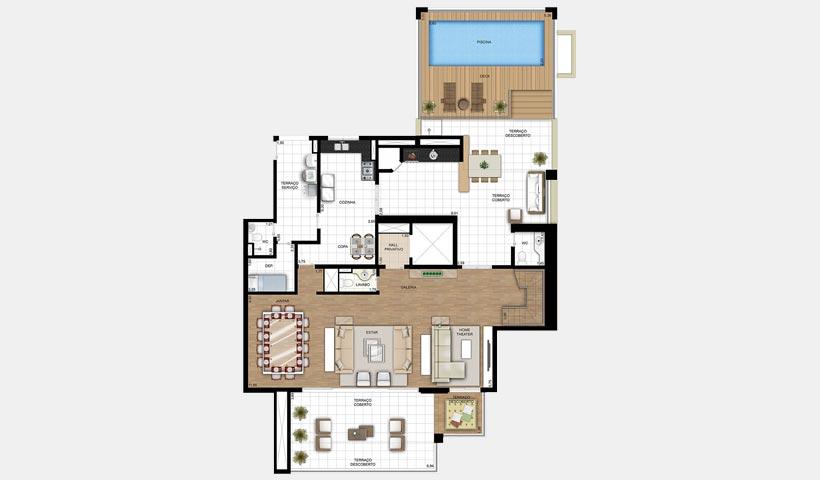 Chácara Sant'Anna – Planta duplex inferior 254 m² 4 suítes