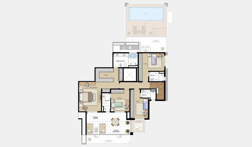 Chácara Sant'Anna – Planta duplex superior 254 m² 4 suítes