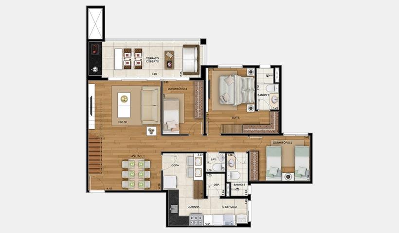 Chateau Monet – Cobertura duplex inferior 105 m²