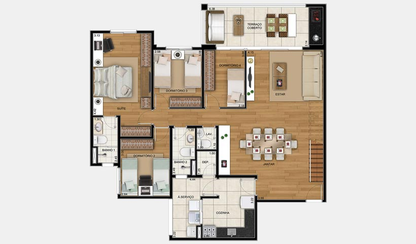 Chateau Monet – Cobertura duplex inferior 131 m²