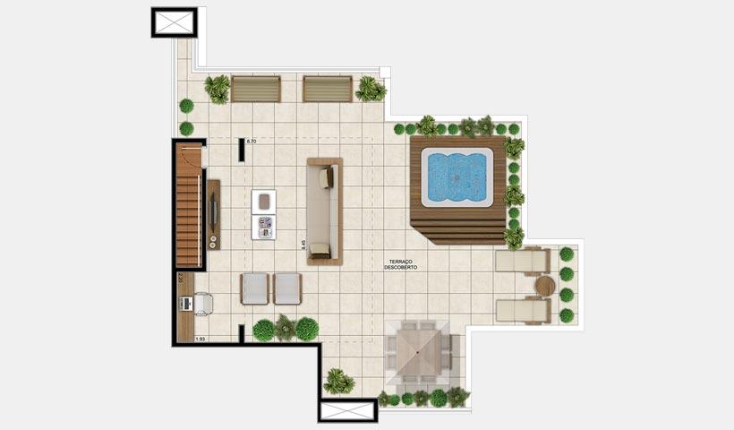 Chateau Monet – Cobertura duplex superior 105 m²