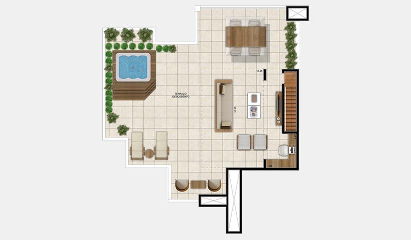 Chateau Monet – Cobertura duplex superior 131 m²