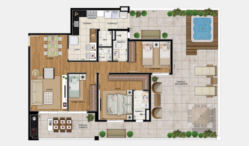 Chateau Monet – Planta térreo 105 m² 3 dorms.