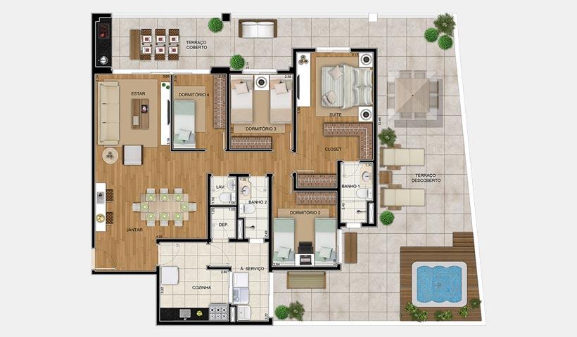 Chateau Monet – Planta térreo 131 m² 4 dorms.