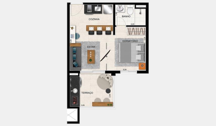 Alameda – Planta 38 m² 1 Dorm.