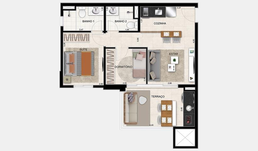 Alameda – Planta 56 m² 2 Dorms.