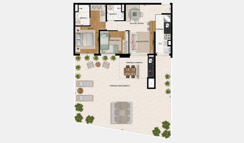 Botânica – Planta 145 m² maison 2 Dorms.