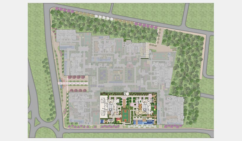 Praça – Fotomontagem da região com implantação