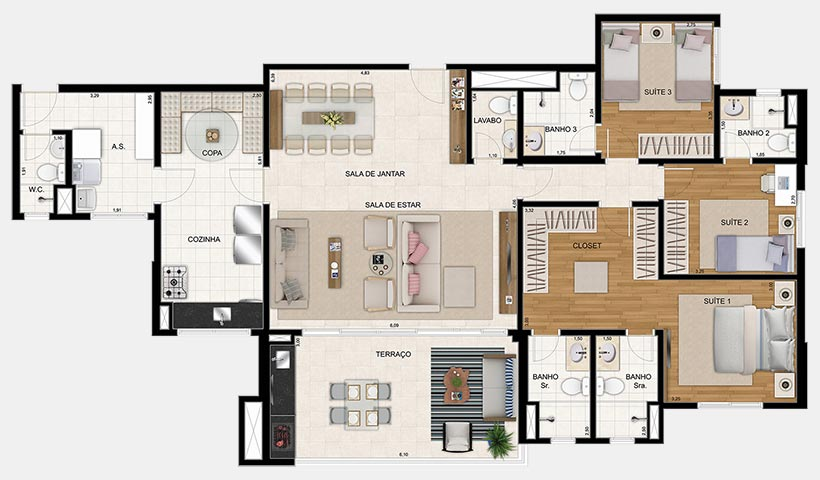 Reserva – Planta 154 m² 3 suítes - 1