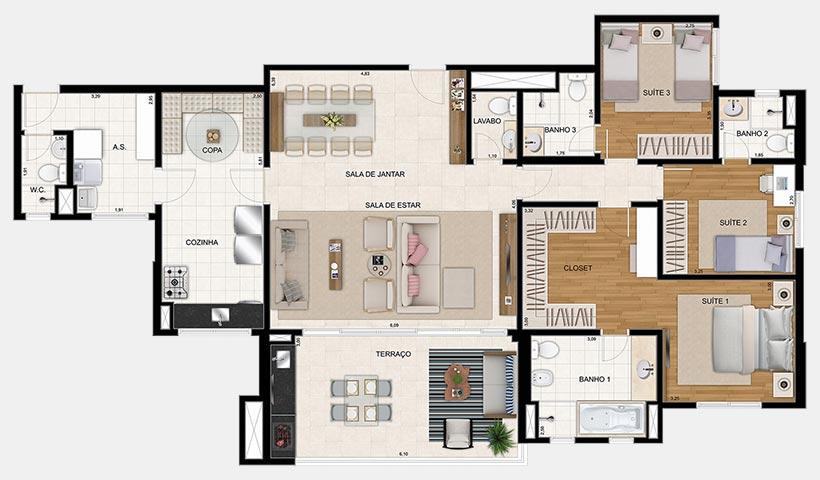 Reserva – Planta 154 m² 3 suítes - 2