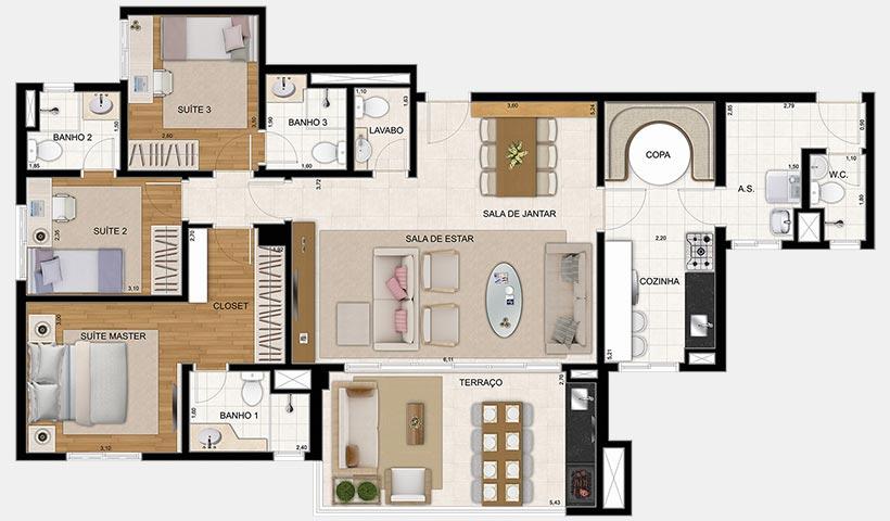 Reserva – Planta 122 m² 3 Dorms.