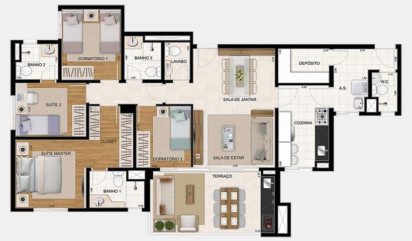 Reserva – Planta 122 m² 4 Dorms.