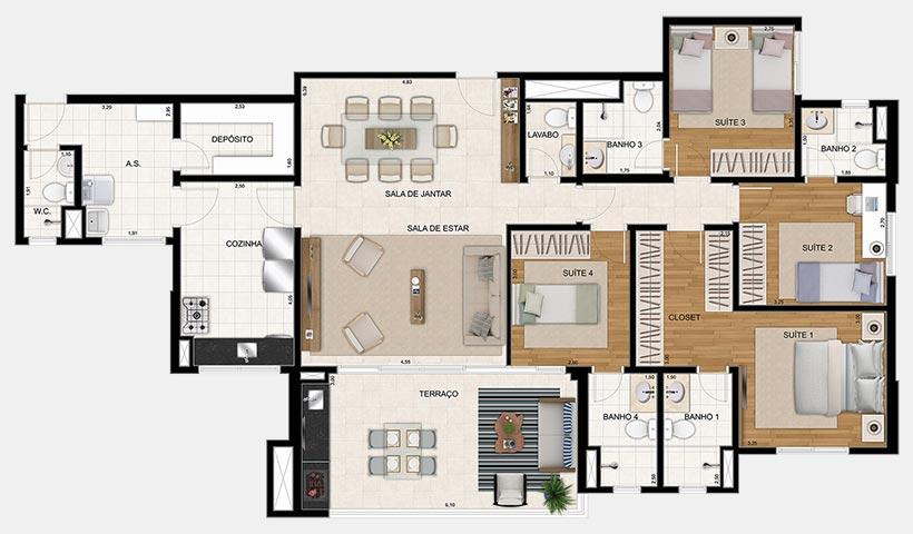 Reserva – Planta 154 m² 4 Dorms.