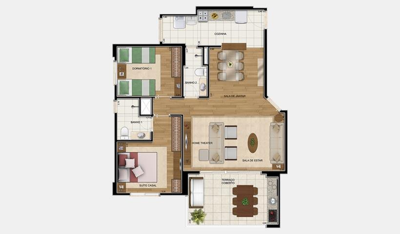 Clima Mascote – Planta 83 m² 2 Dorms.